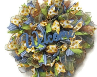 Welcome Wreath, Deco Mesh Wreath, Fall Wreath, Summer Wreath, Autumn Wreath, Deco Mesh, Outdoor Wreath, Door Decor, Everyday Wreath,