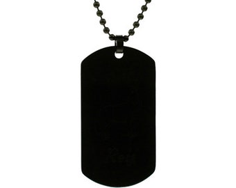 Stainless Steel Black Dog Tag with Custom Engraving. Bead chain included.