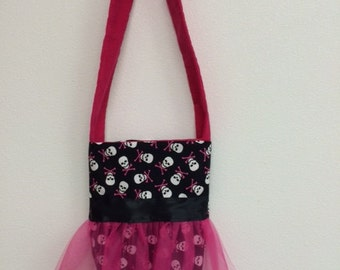 pink and black skull tu tu cutes little girls purse
