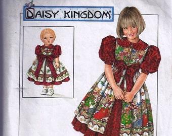 Child s Dress Pinafore & Doll Dress for 17' - Patron de robe et tablier enfant robe pour poupée - Simplicity no 7349