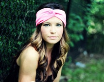 Pink turban twist headband, yoga hair accessory, women's bohemian hair accessories,  headband, twisted head wrap, soft turban