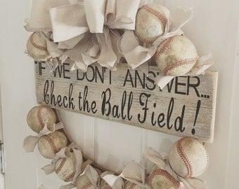 Reclaimed Baseball Wreath