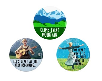 The Sound Of Music  - Badge/Fridge Magnet  Set - Julie Andrews - Film  - Pin Back Badge - 60s - Retro - Musical