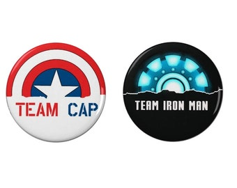 Captain America  Civil War -  Badge - Badges/Fridge Magnets - Movies Iron Man - Tony Stark - Team Cap - Team Iron Man - Steve Rogers