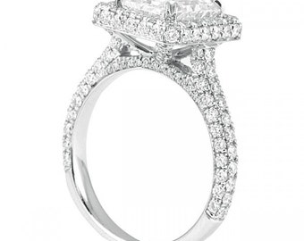 3.18 CT  Radiant Cut Diamond Simulant in 14K White Gold