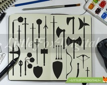Medieval Weapons kings and knights Swords Clipart Set Digital Illustration Scrapbook