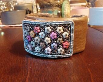 Steel cut antique shoe buckle bracelet Flowers