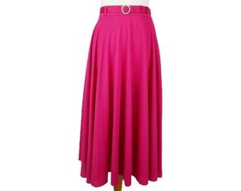 Full Circle Skirt Hot Pink 80s does 50s Rockabilly Swing Jive UK 10