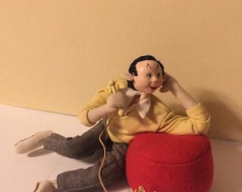 Vintage Doll Klumpe Doll Roldan Dolls, Roldan Klumpe Boy on the Phone Doll, Collectors Doll, Vintage Doll