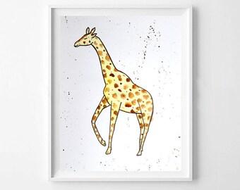 Giraffe Hand painted Print
