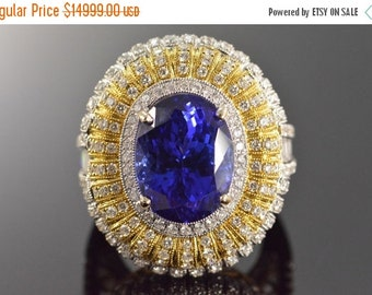 1 Day Sale 18K 12.67 Ct Tanzanite 3.20 Ctw G/VS Diamond Museum Ring Size 7.5 White Gold