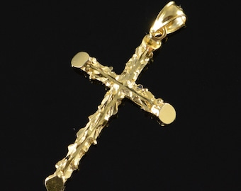14K Textured Cross Branches Pendant Yellow Gold