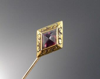 14K Victorian Diamond Shape Etched Pink Glass Stick Pin Yellow Gold - EM1641