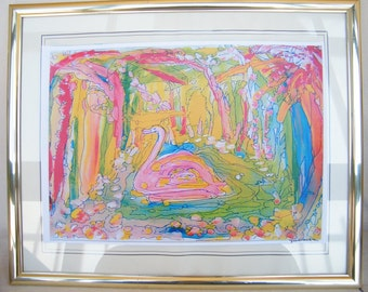 Botanic Garden paint, The swan paint, Abstract watercolor, tuche paint, art gift, poster, watercolor art, triptych, modern art,wall deco