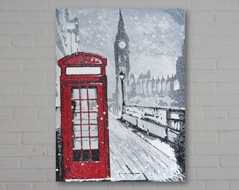 Large contemporary London cityscape in acrylic on deep edged canvas. 30 x 40 inches. Modern Wall Art, Abstract Painting