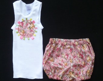 """Pretty baby clothes, Clothing for baby girls, Pink clothing outfit, size 6-12 months, Applique bodysuit outfit, """"READY TO SHIP"""""""