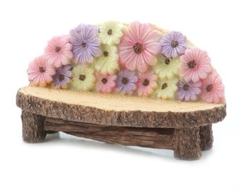 Yard and Fairy Garden Minis - Flower Bench - Resin - 4.4 x 1.75 inches  1613-231