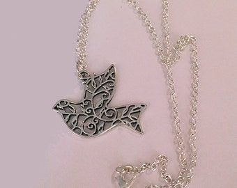 Antique Silver 2 Sided Flying Dove Necklace, Open Filigree Dove Pendant, Graceful Flying Bird Necklace, Peace Flying Dove