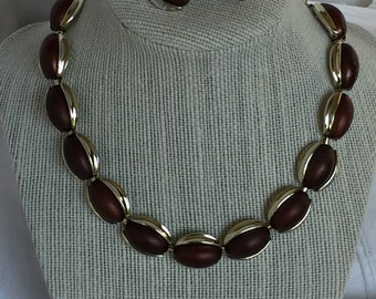 Kramer bronze cabochon necklace and matching clip earrings