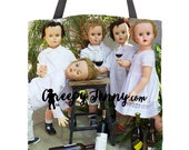 Winery Fun Tote Bag Shopping Bag Reusable Market Bag Gift For Her Sister Gift Funny Tote Bag Vintage Doll Girlfriend Experience Doll Purse