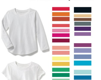 Hand dyed solid color toddler t shirt; Girls Short Sleeve custom color tee shirt; Boys long sleeve plain color shirt; Blank tee shirt