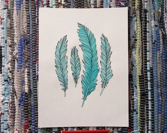 9 x 12 in Original Art Feathers Teal India Ink with Black Micron on Watercolor Card Watercolour