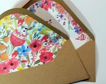 Lined envelopes for wedding invitations with custom inserts-Kraft Envelope-white envelope marked in felt