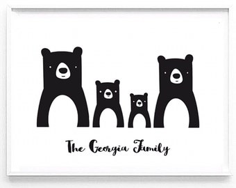 A4 Personalised Bear Family portrait print