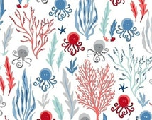 Modern Fabric-Come Dive With Me Cotton Fabric-Modern Quilting Fabric-Under The Sea-Octopus-Kelp-Seaweed-Starfish