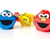 12 Sesame Street cupcake wrappers | Elmo Cookie Monster Big Bird cupcake Liners | Sesame Street baby shower or birthday party