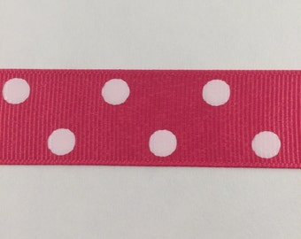 7/8 Inch Shocking Pink and White Dippy Dot Grosgrain Ribbon