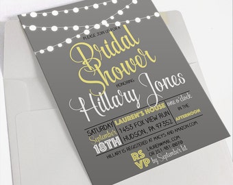 Gray and Yellow Bridal Shower Invitation   Printable Bridal Shower Invitation   Digital Invite   Garden Lights   Rustic Outdoor Invitation