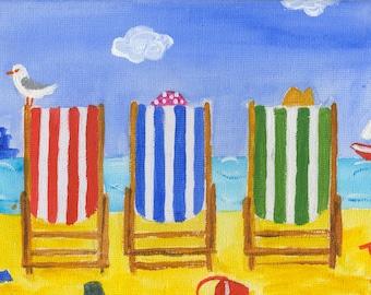 Seaside 'All Seats Taken'! Colourful blank greeting card Original design