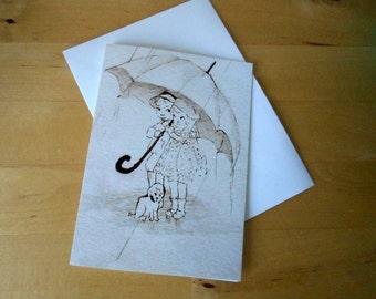 Sheltering Together Blank Greeting card Illustration
