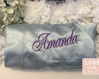 Dusty Blue Bridesmaid Satin Robes, Bridal Party Robes, Monogram Robes, Silk Kimono Robes, Embroider Robes, Bridesmaid Gifts, Wedding Robes