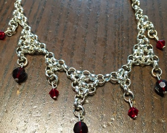 Silver and red drop necklace