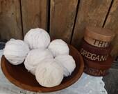 Set of 6 Muslin Rag Balls, Fabric Balls from Vintage Muslin, Fabric Orbs, Soft Rag Balls, Primitive Bowl Fillers