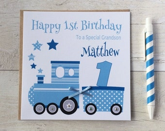 Personalised Train Birthday Card  1st First 2nd 3rd 4th 5th Son Grandson Godson Nephew Brother 1st Birthday Card 2nd Birthday Card LB072