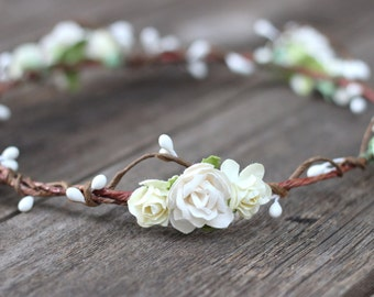 Ivory and White Flower Crown Bohemian Wedding Floral Crown Headband Rose Head Wreath Flower Hair Accessories Flower Girl Tiara Headpiece