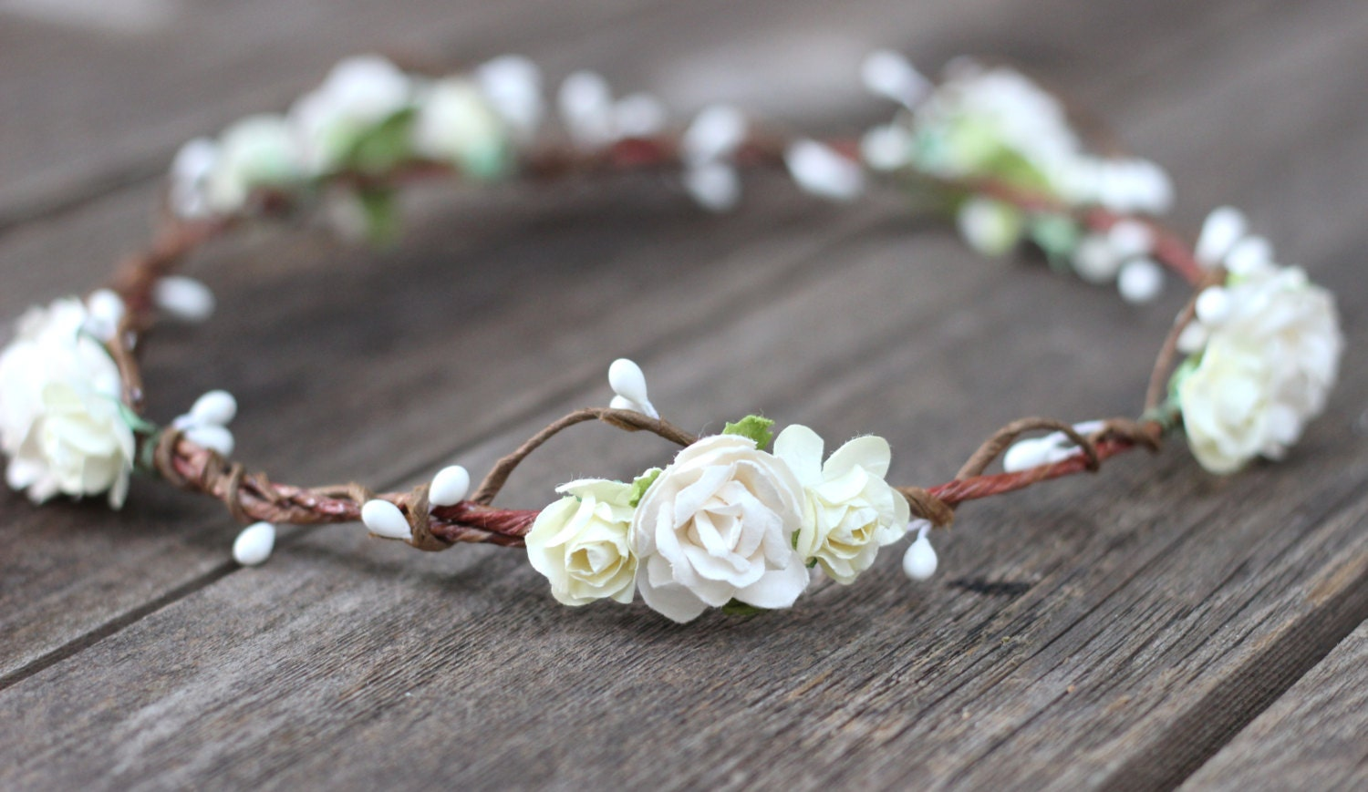 Ivory And White Flower Crown Bohemian Wedding Floral Crown Headband