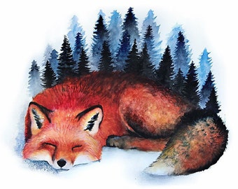 Cozy Red Fox Watercolor Print FREE SHIPPING IN U.S.A