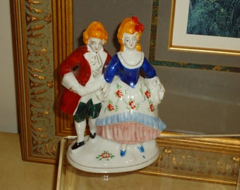 Vintage, Occupied Japan  Figurine, 18th Century Gentleman and Gentlewoman Dressed for Afternoon Stroll