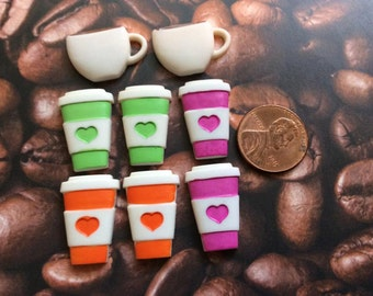 SET of 8 Detailed Coffee Lattes and TWO Coffee Cups Flatback Button/bead/Craft/embellishment/trim