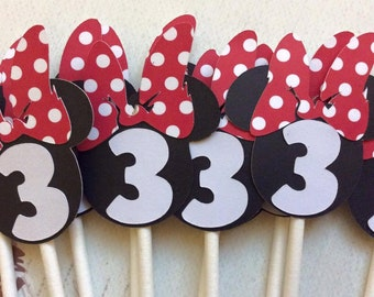 12 Minnie Mouse Cupcake toppers Choose your NUMBER 1 through 9