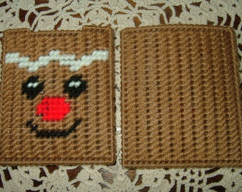 Gift Card Holder~Needlepoint~Plastic Canvas~Gingerbread Man Face