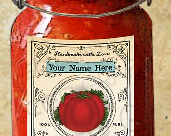 Tomatoes Label Tomatoes Canning Label Country Tomato Tags EDITABLE Digital Download Instant Download DIY Tomato Canning Labels Download
