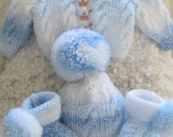 Baby Boy Take Home Outfit - Hand knitted