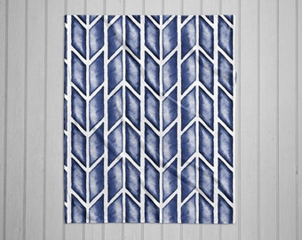 Indigo arrow tribal pattern modern plush throw blanket with white back