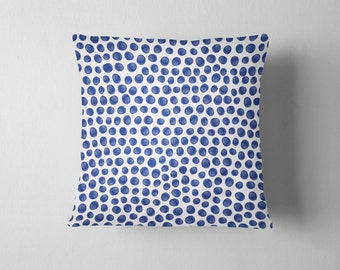 Indigo blue random polka dot throw pillow