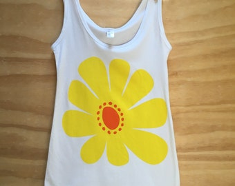 Hand Screen Printed | Yellow/Orange Retro Daisy | Women's Tank | Organic Cotton |Australian Made